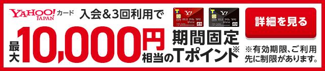 YAHOO!カード入会&3回利用で最大10,000円相当の期間固定Tポイント※有効期限、ご利用先に制限があります。詳細を見る