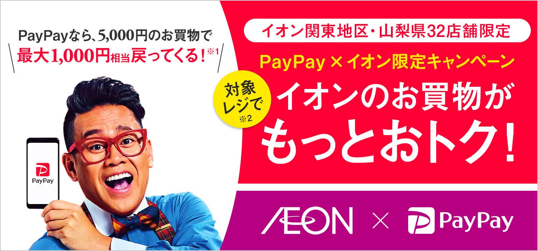 イオン関東地区・山梨県32店舗限定 PayPay×イオン限定キャンペーン 対象レジでイオンのお買物がもっとおトク!
