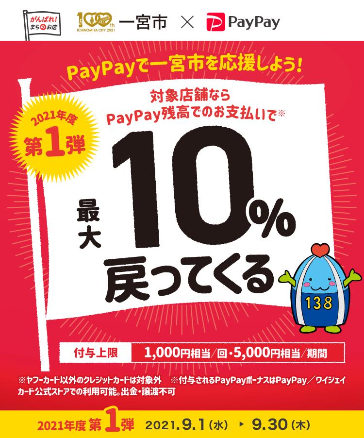 PayPayで一宮市を応援しよう! 2021年度第1弾 対象店舗ならPayPay残高でのお支払いで最大10%戻ってくる