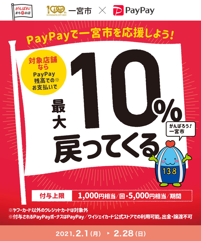PayPayで一宮市を応援しよう! 対象店舗ならPayPay残高でのお支払いで 最大10%戻ってくる