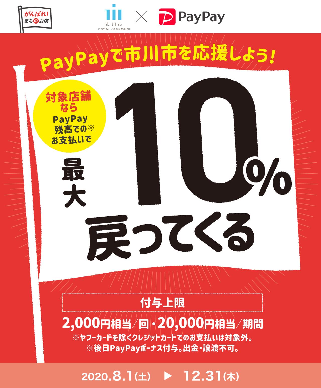 PayPayで市川市を応援しよう! 対象店舗ならPayPay残高でのお支払いで最大10%戻ってくる