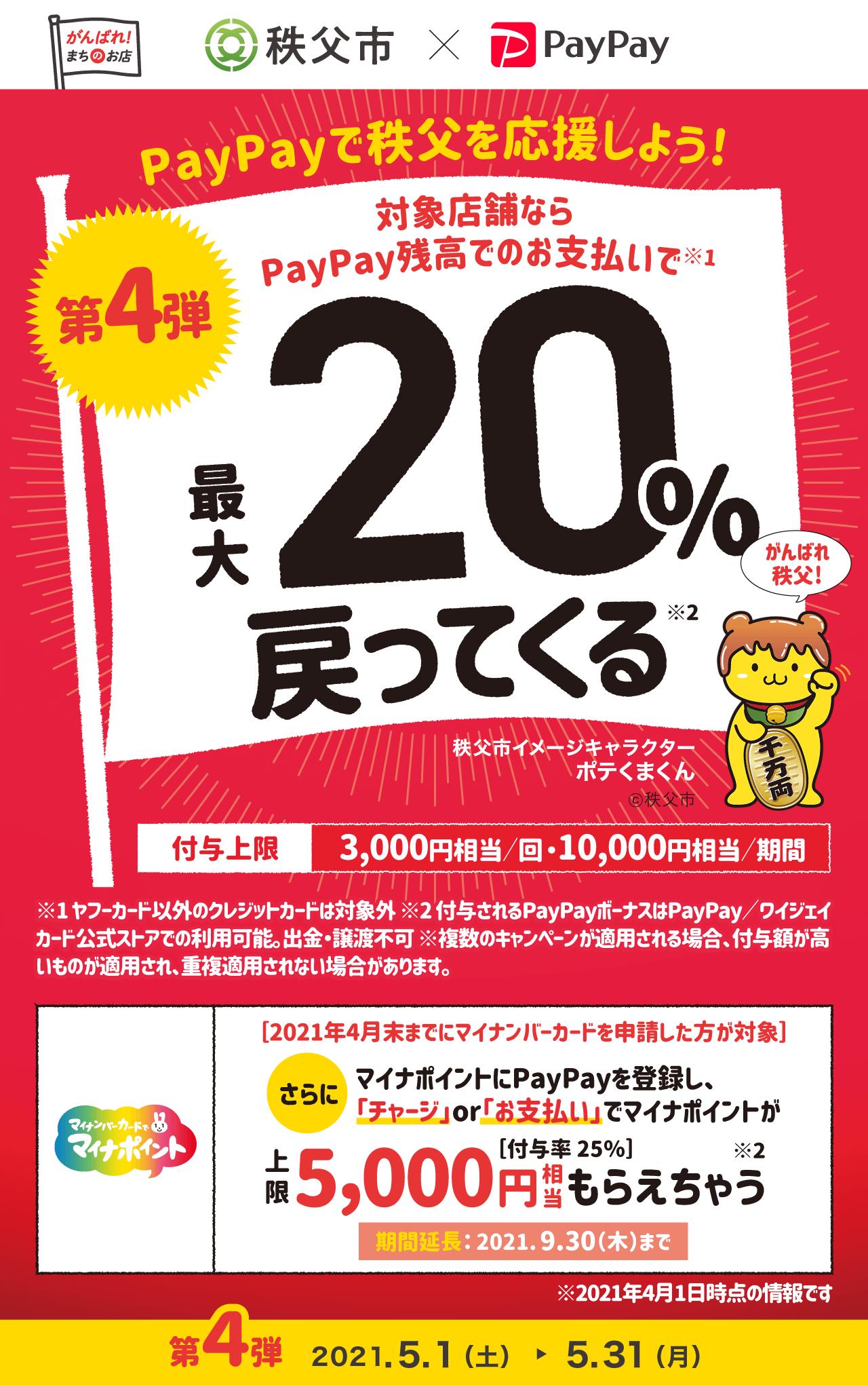 PayPayで秩父を応援しよう! 第4弾 対象店舗ならPayPay残高でのお支払いで最大20%戻ってくる