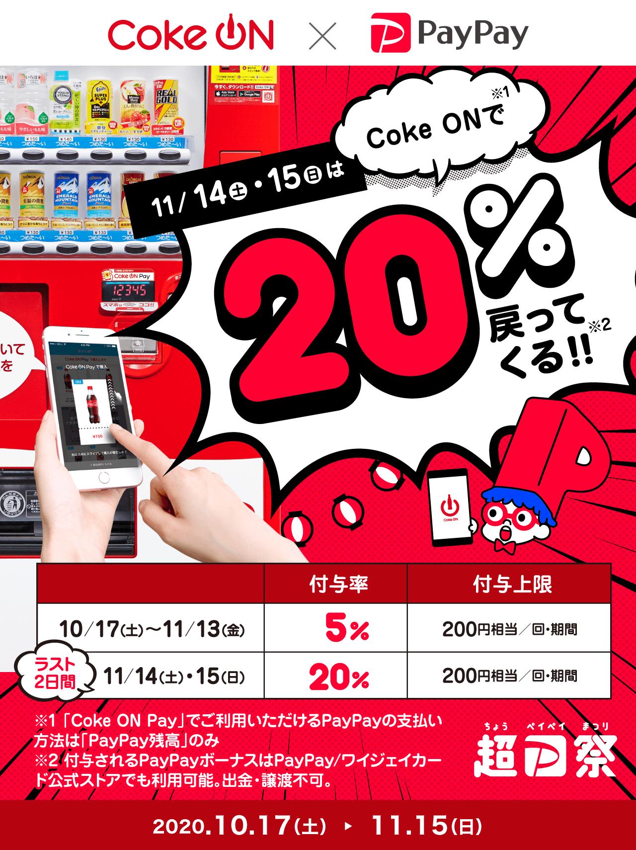 11/14(土)・15(日)はCoke ONで20%戻ってくる!!