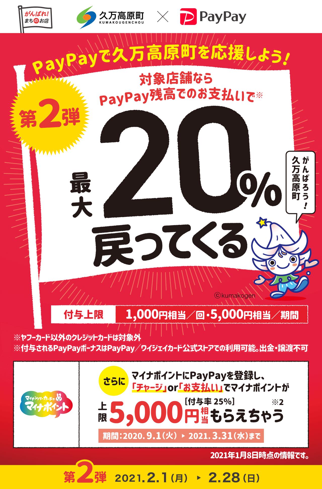 PayPayで久万高原町を応援しよう! 第2弾 対象店舗ならPayPay残高でのお支払いで 最大20%戻ってくる