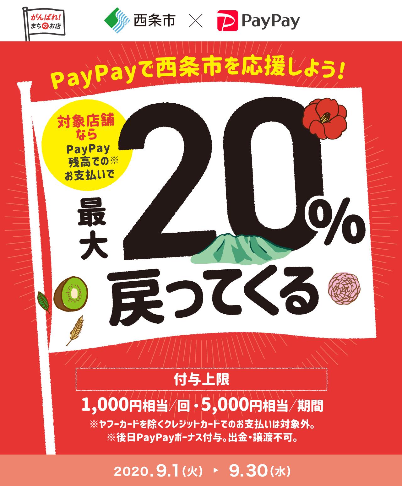 PayPayで西条市を応援しよう! 対象店舗ならPayPay残高でのお支払いで最大20%戻ってくる