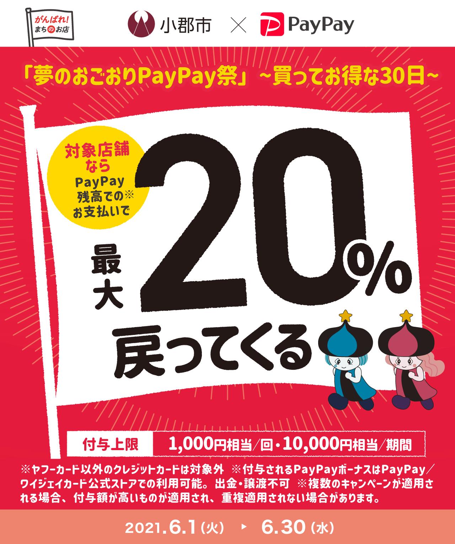 「夢のおごおりPayPay祭」〜買ってお得な30日〜 対象店舗ならPayPay残高でのお支払いで最大20%戻ってくる