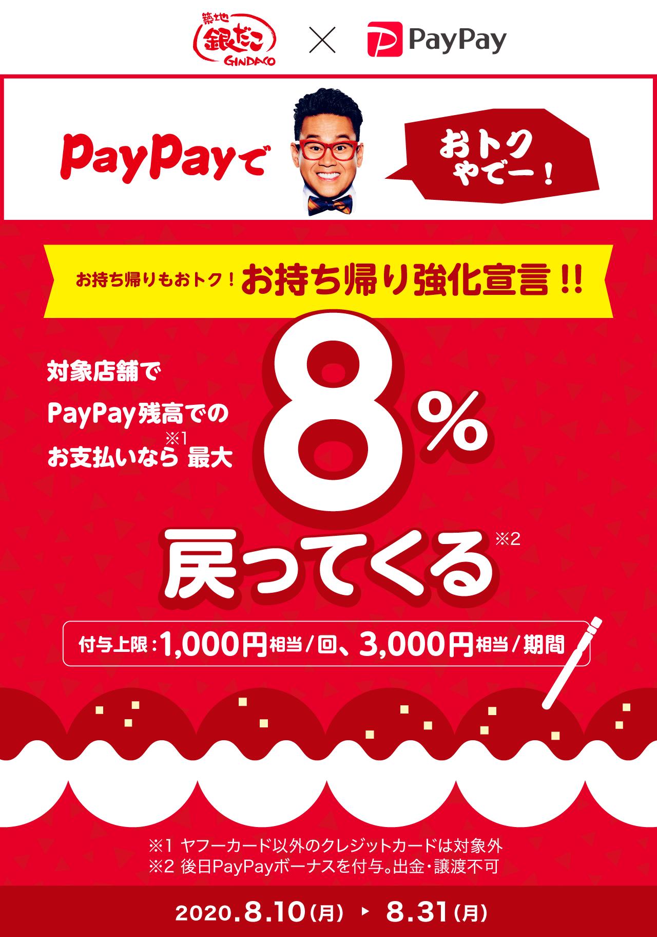 お持ち帰り強化宣言!! 対象店舗でPayPay残高でのお支払いなら最大8%戻ってくる