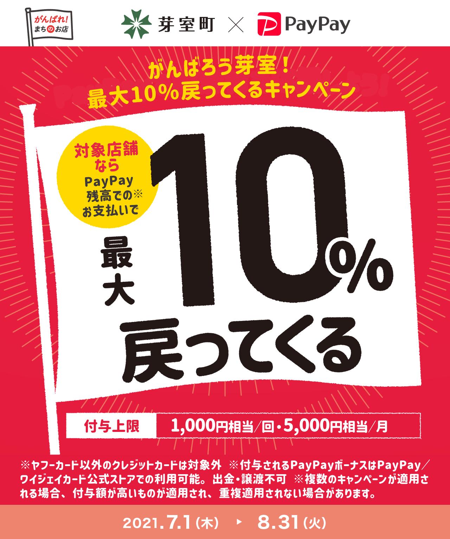 がんばろう芽室!最大10%戻ってくるキャンペーン 対象店舗ならPayPay残高でのお支払いで最大10%戻ってくる