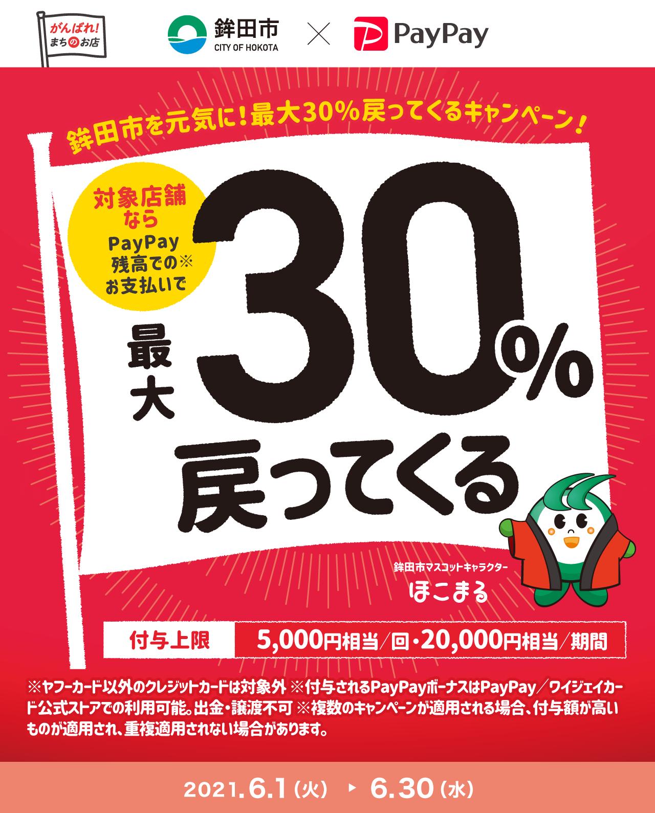 鉾田市を元気に! 最大30%戻ってくるキャンペーン!対象店舗ならPayPay残高でのお支払いで最大30%戻ってくる