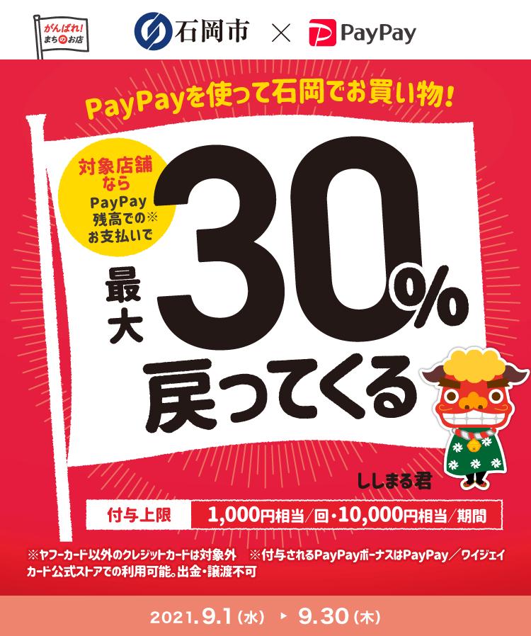 PayPayを使って石岡でお買い物! 対象店舗ならPayPay残高でのお支払いで最大30%戻ってくる