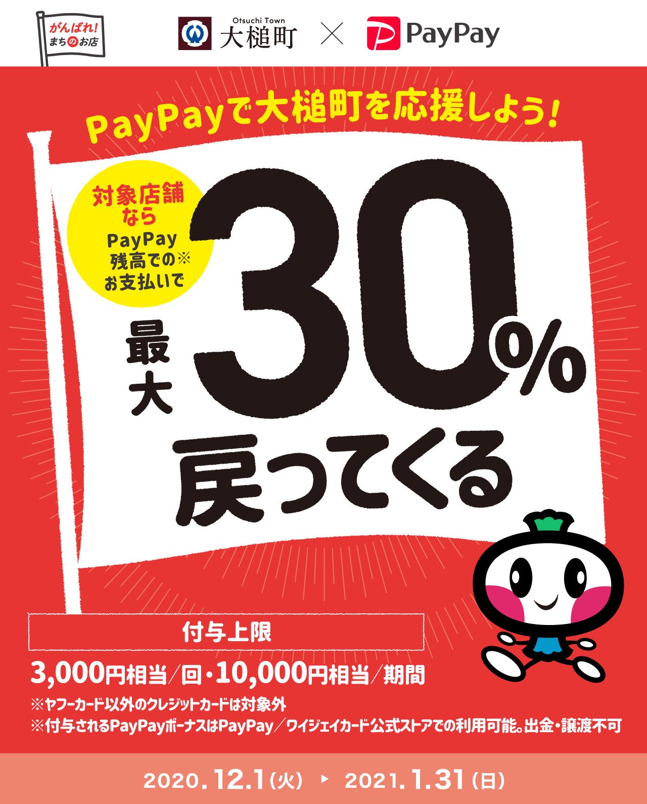 PayPayで大槌町を応援しよう! 対象店舗ならPayPay残高でのお支払いで 最大30%戻ってくる