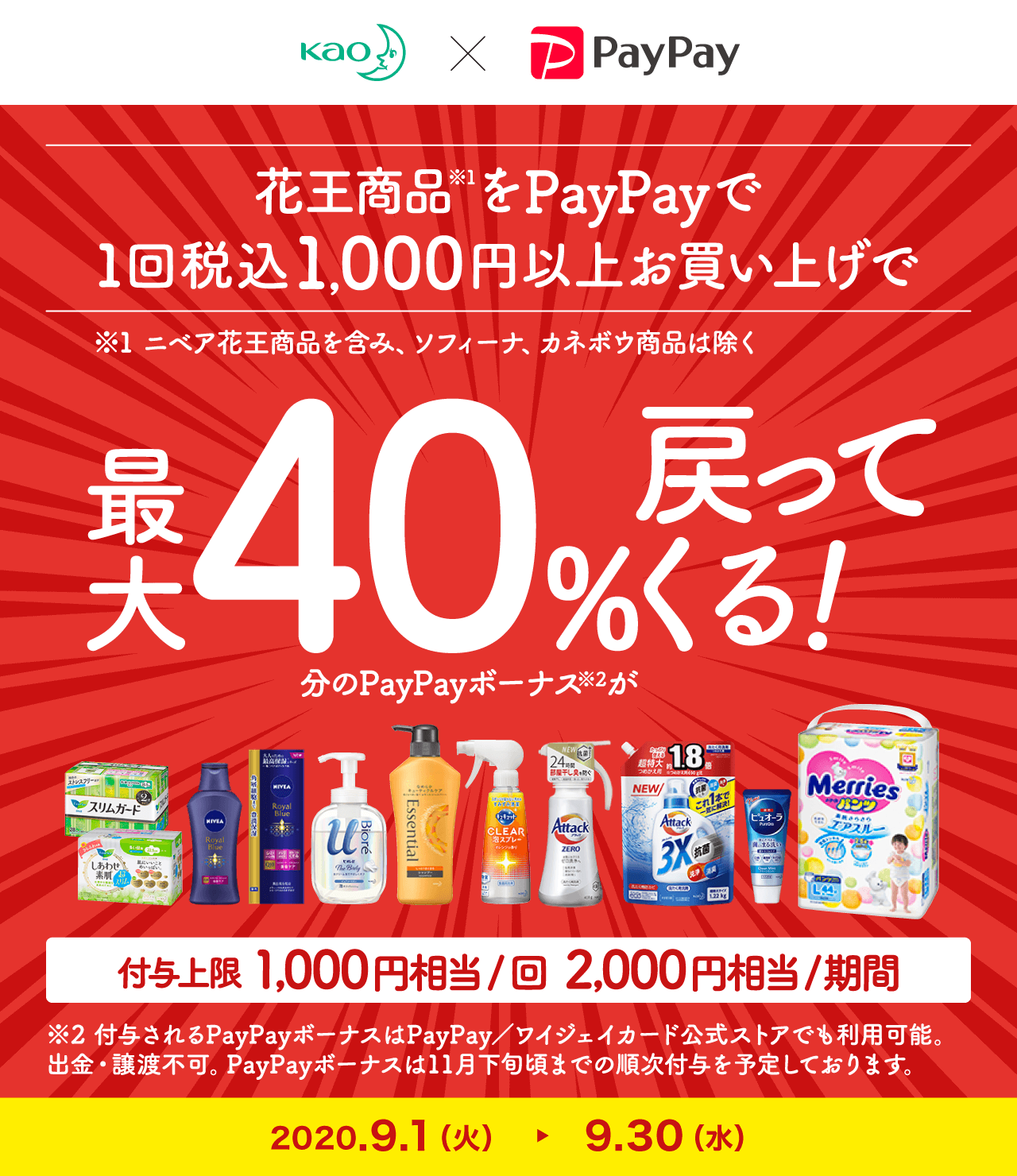 花王商品をPayPayで1回税込1,000円以上お買い上げで最大40%戻ってくる!