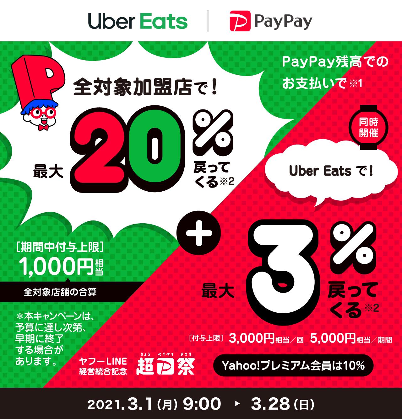 全対象加盟店で!最大20%戻ってくる + Uber Eats で!最大3%戻ってくる