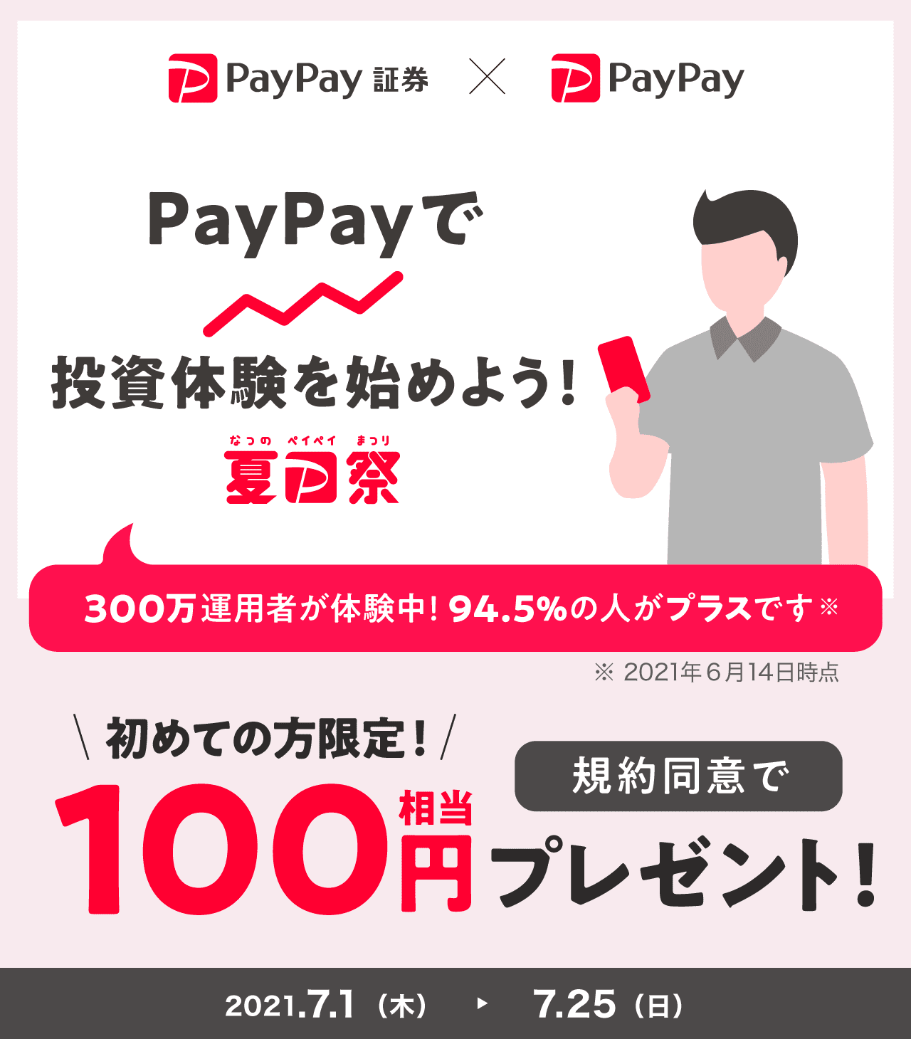 PayPayで投資体験を始めよう! 初めての方限定!規約同意で100円相当プレゼント!