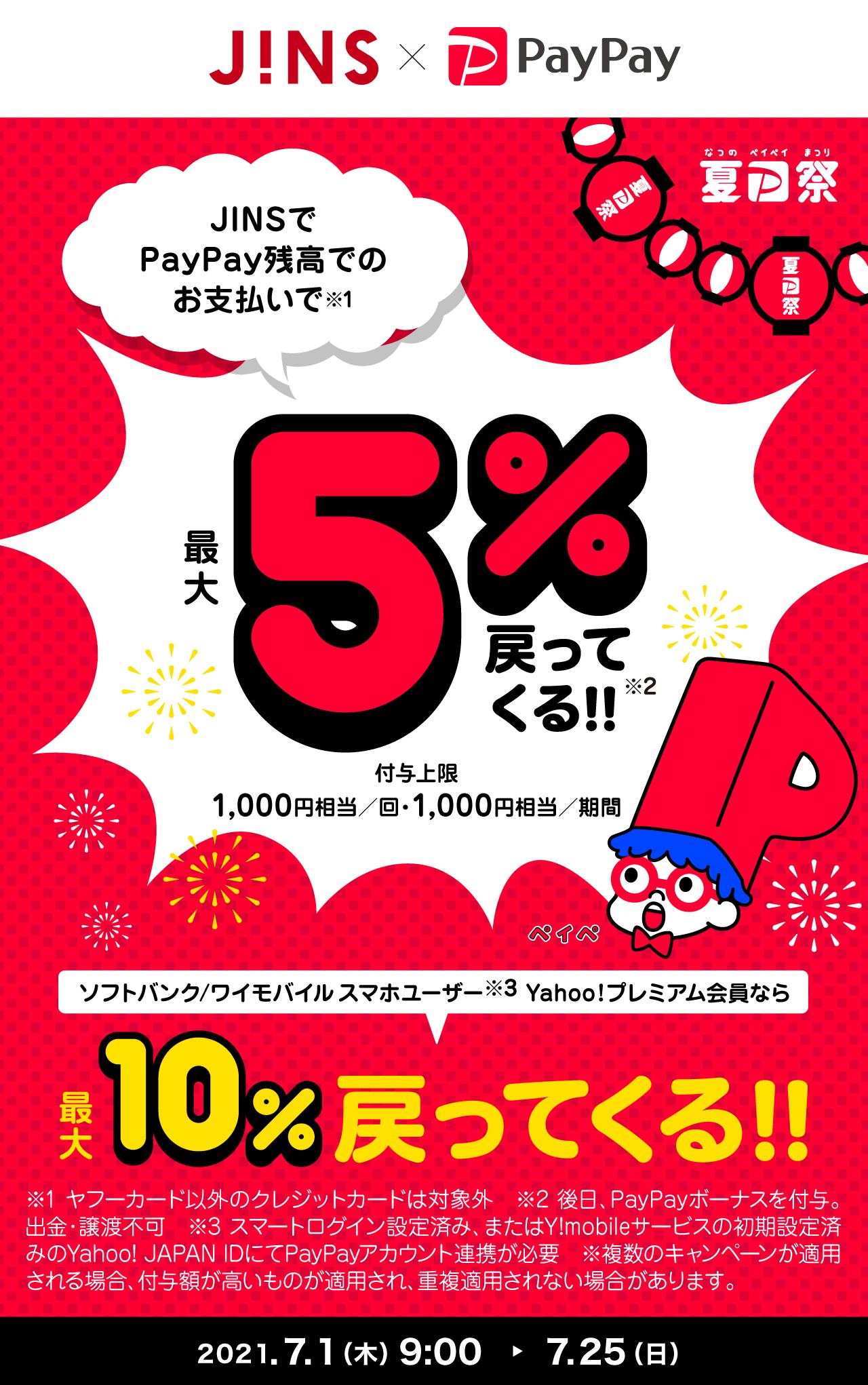 JINSでPayPay残高でのお支払いで最大5%戻ってくる!!