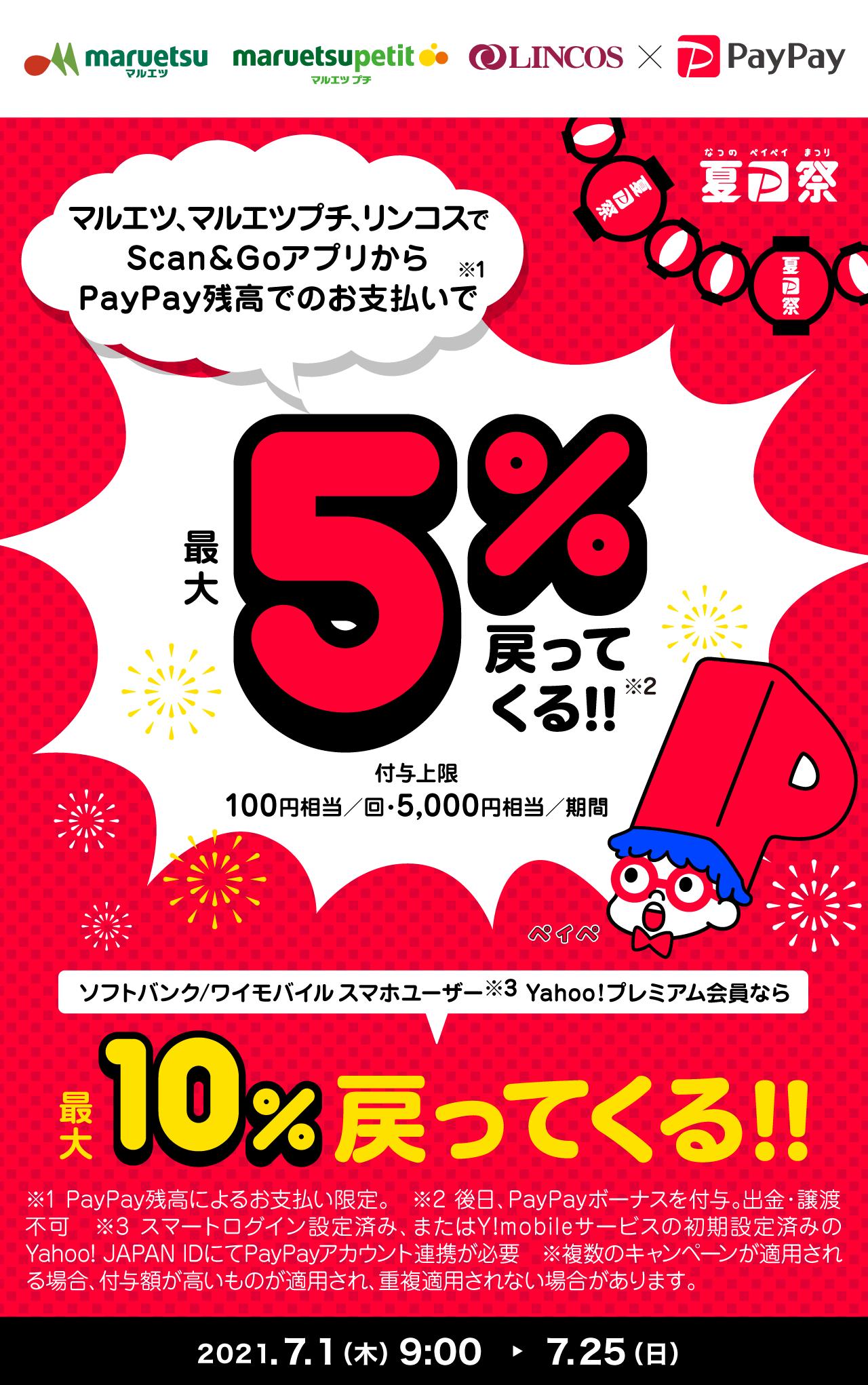 マルエツ、マルエツプチ、リンコスでScan&GoアプリからPayPay残高でのお支払いで最大5%戻ってくる!!