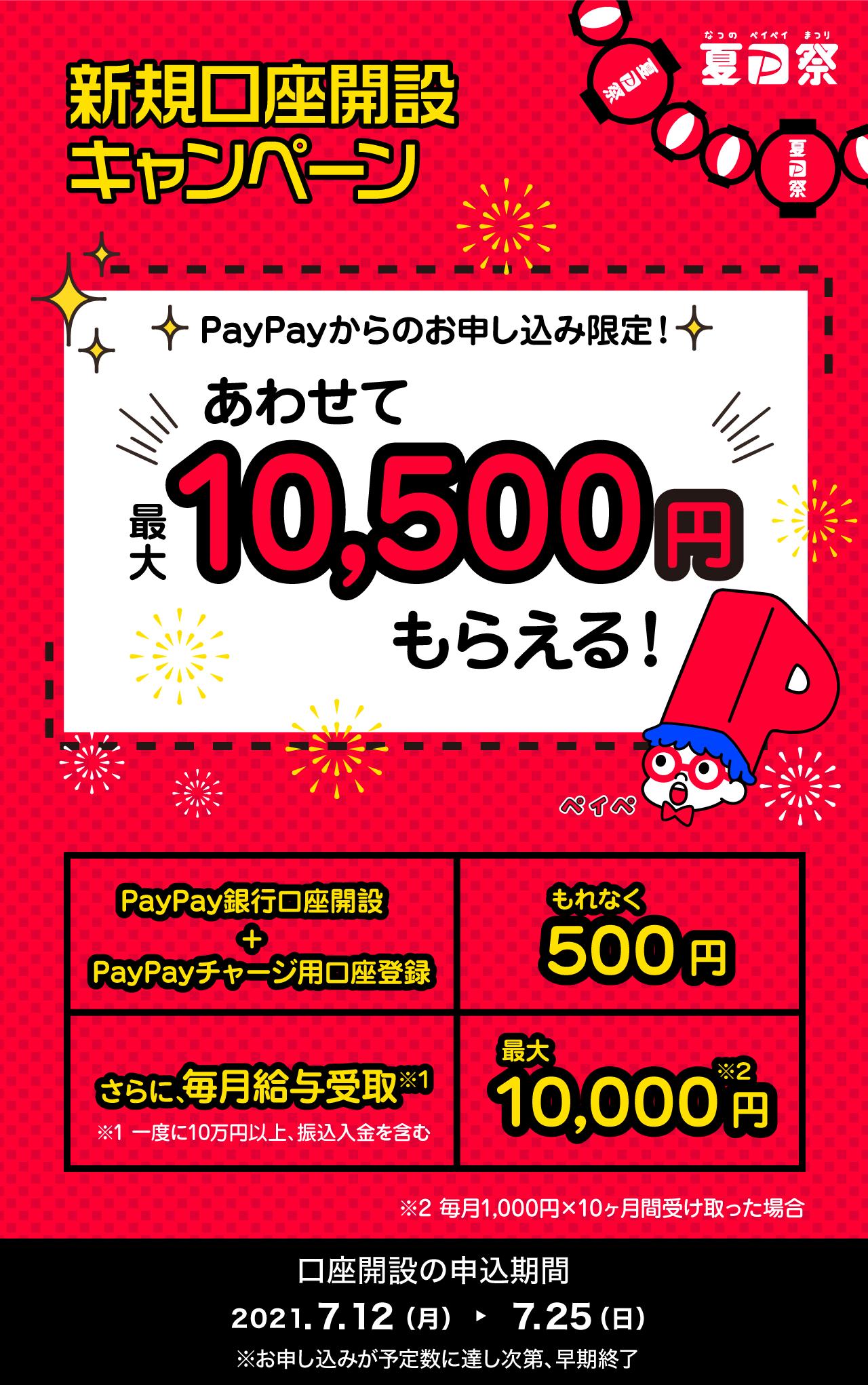 新規口座開設キャンペーン PayPayからのお申し込み限定!あわせて最大10,500円もらえる!