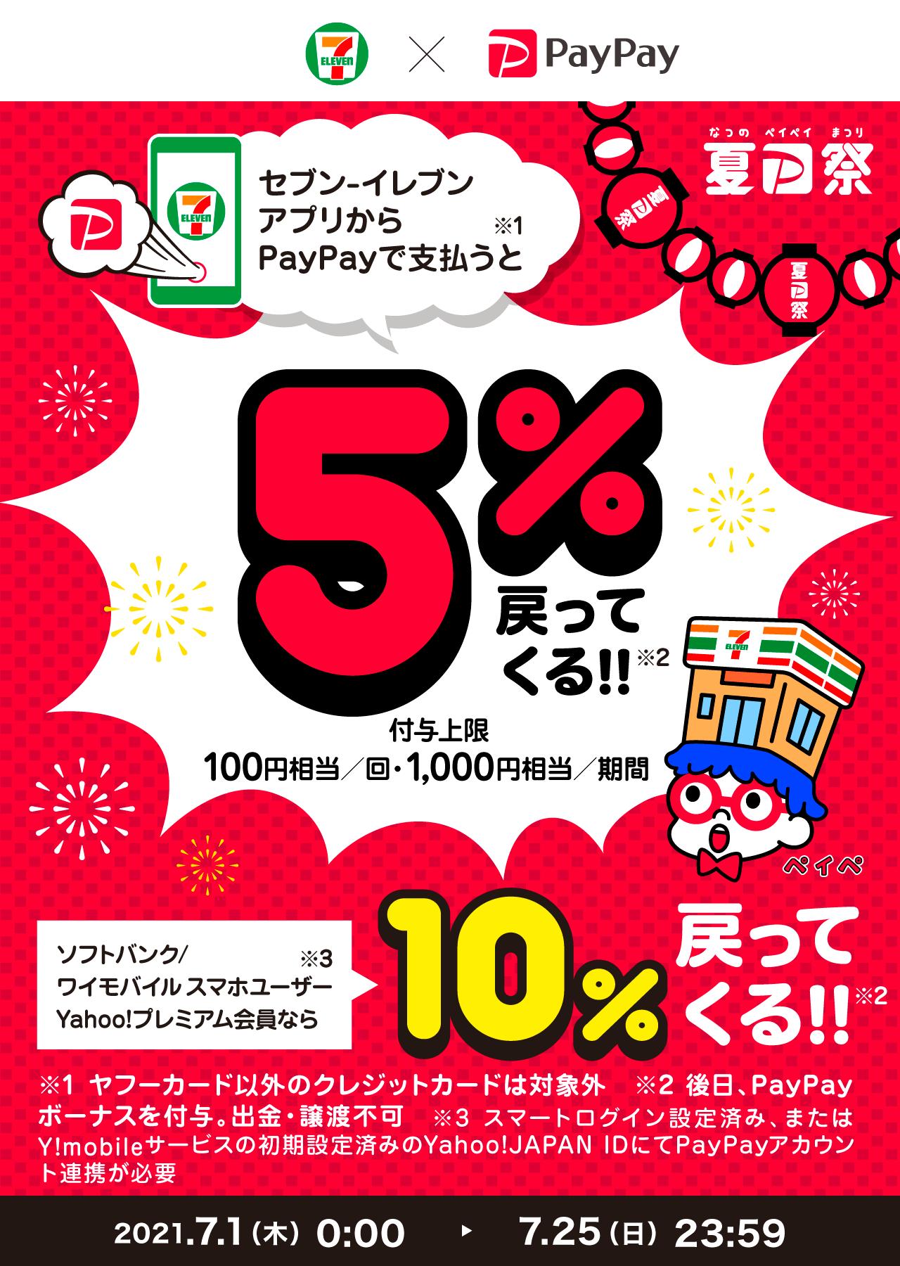 セブン-イレブンアプリからPayPayで支払うと5%戻ってくる!!