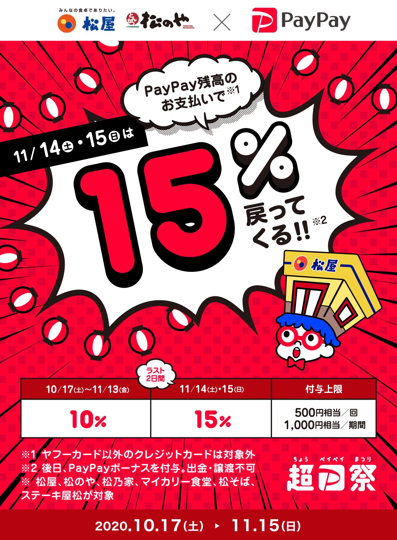 11/14(土)・15(日)はPayPay残高のお支払いで15%戻ってくる!!