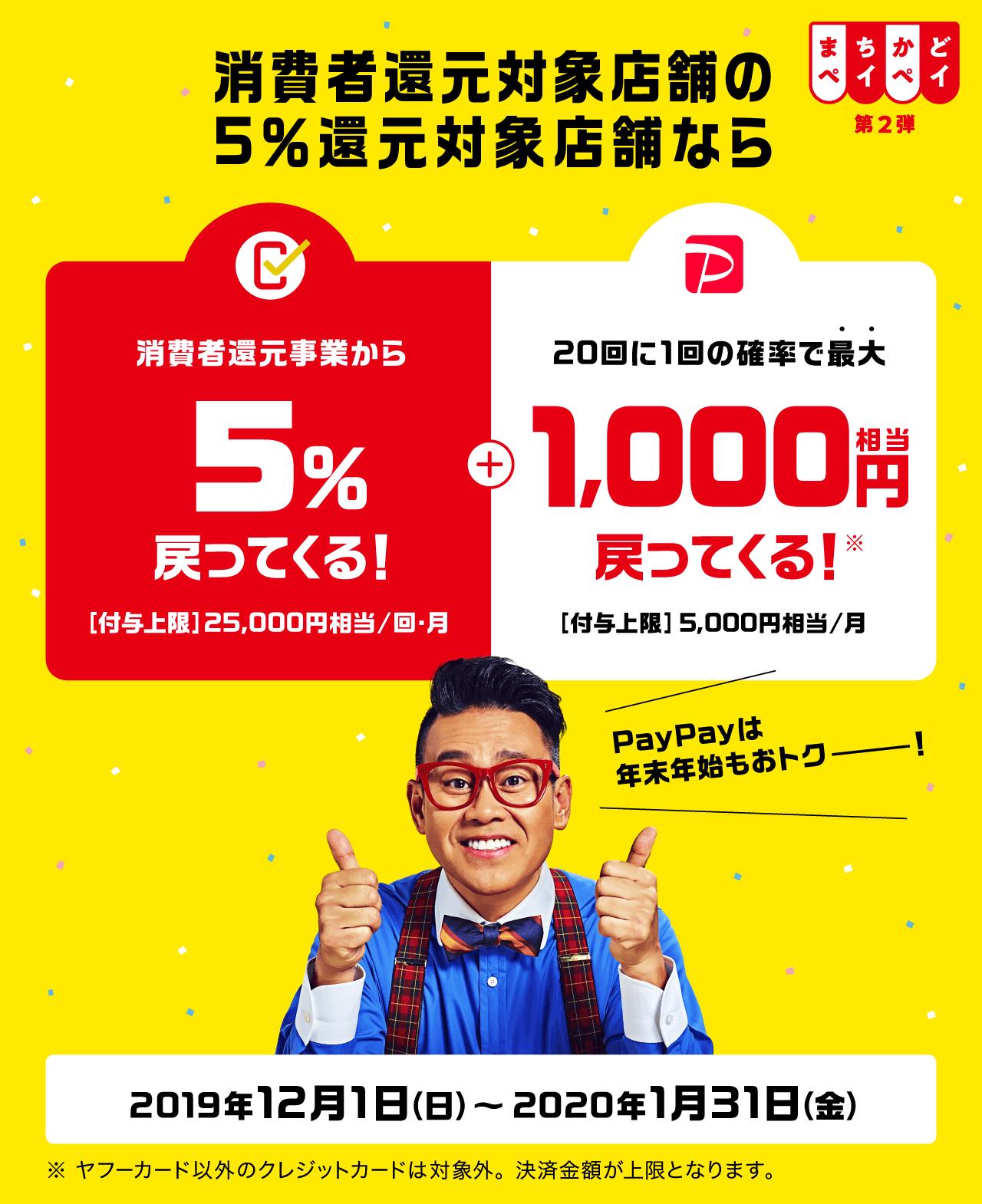 消費者還元対象店舗の5%還元対象店舗なら 消費者還元事業者から5%戻ってくる! + 20回に1回の確率で最大1,000円相当戻ってくる!