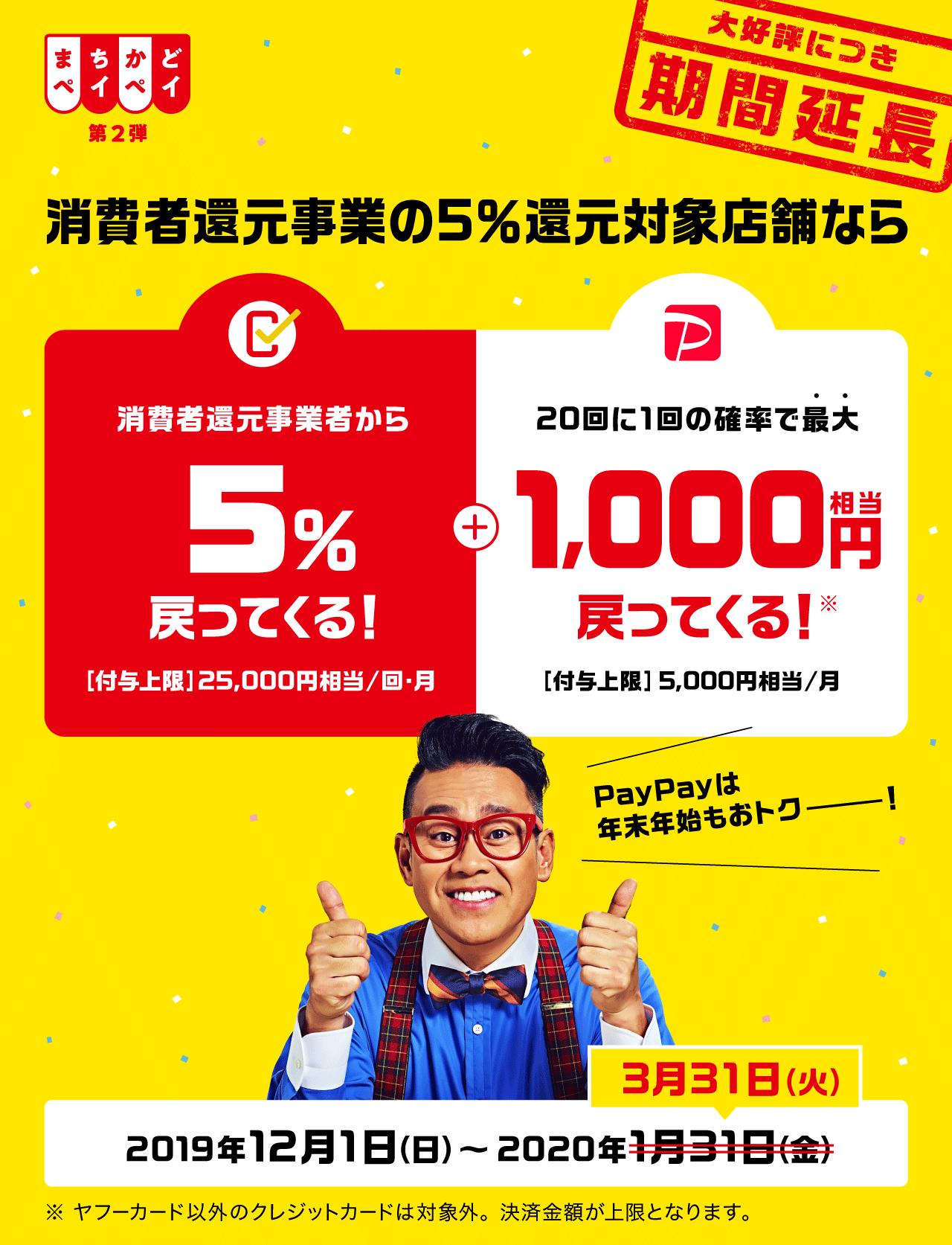 消費者還元対象店舗の5%還元対象店舗なら 消費者還元事業から5%戻ってくる! + 20回に1回の確率で最大1,000円相当戻ってくる!