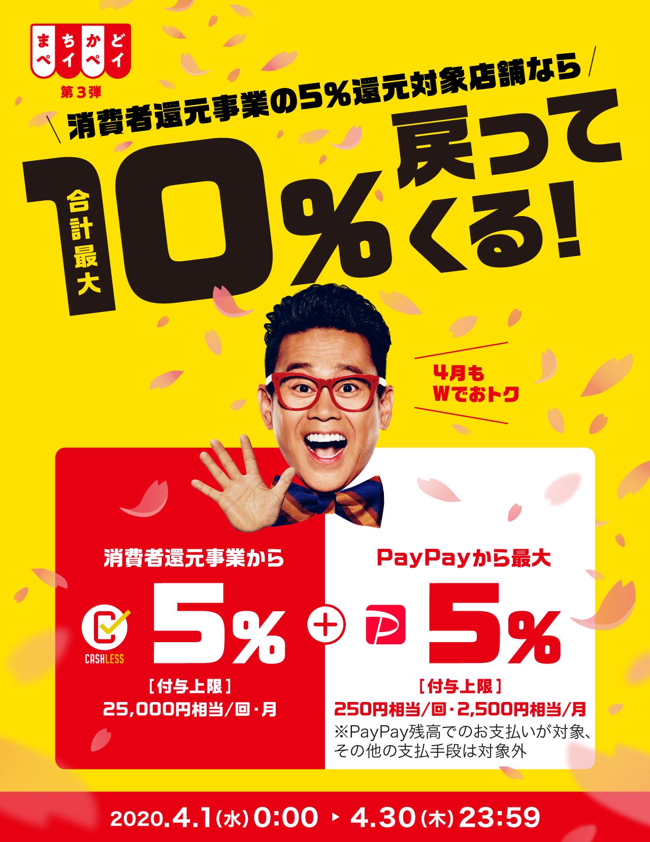消費者還元事業の5%還元対象店舗なら 合計最大10%戻ってくる!