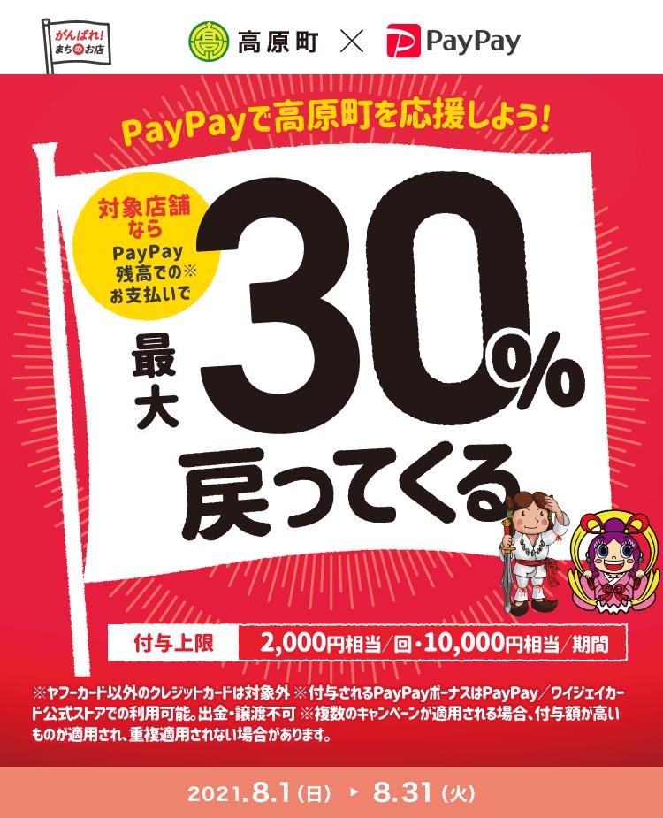 PayPayで高原町を応援しよう!対象店舗ならPayPay残高でのお支払いで最大30%戻ってくる