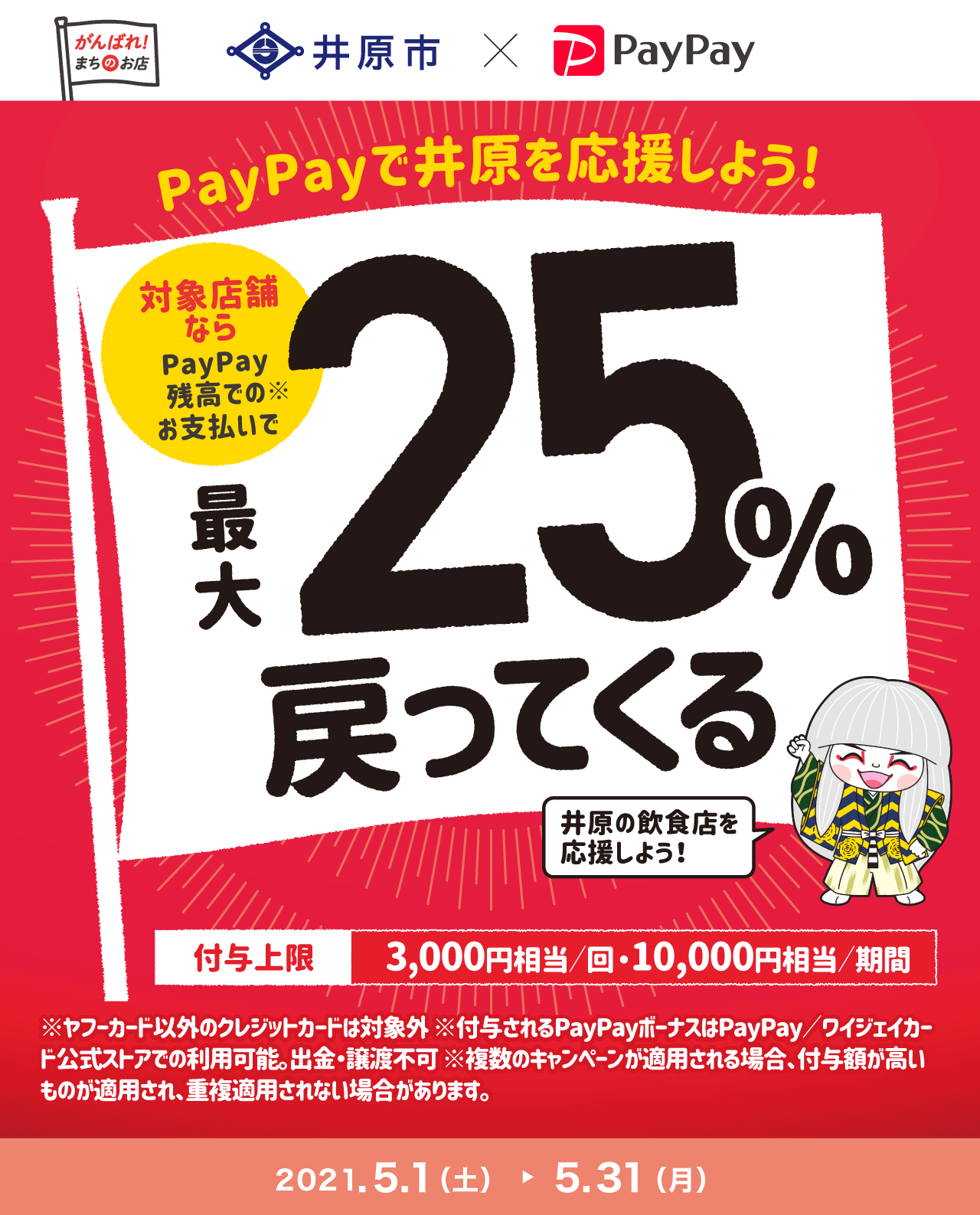 PayPayで井原を応援しよう!対象店舗なら最大25%戻ってくる