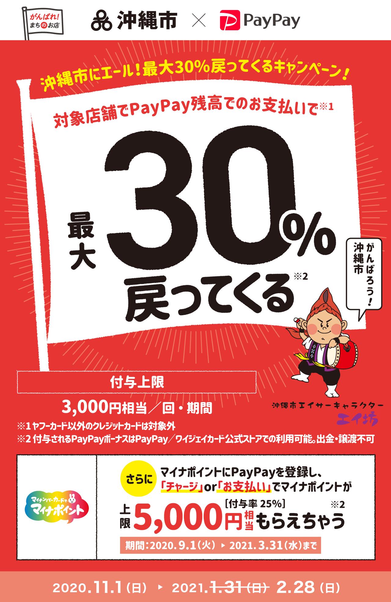 沖縄市にエール!最大30%戻ってくるキャンペーン! 対象店舗でPayPay残高でのお支払いで最大30%戻ってくる