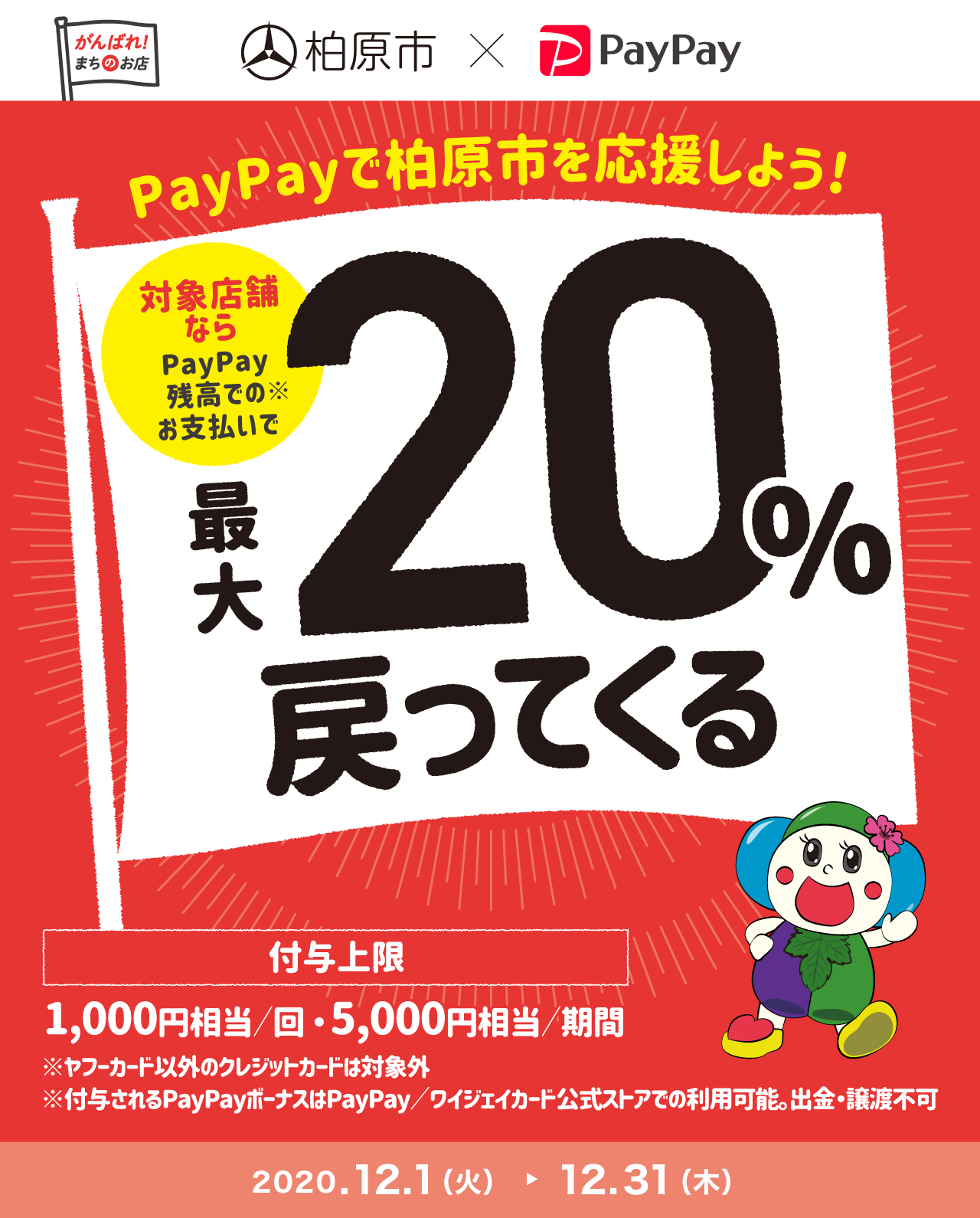 PayPayで柏原市を応援しよう! 対象店舗ならPayPay残高でのお支払いで 最大20%戻ってくる