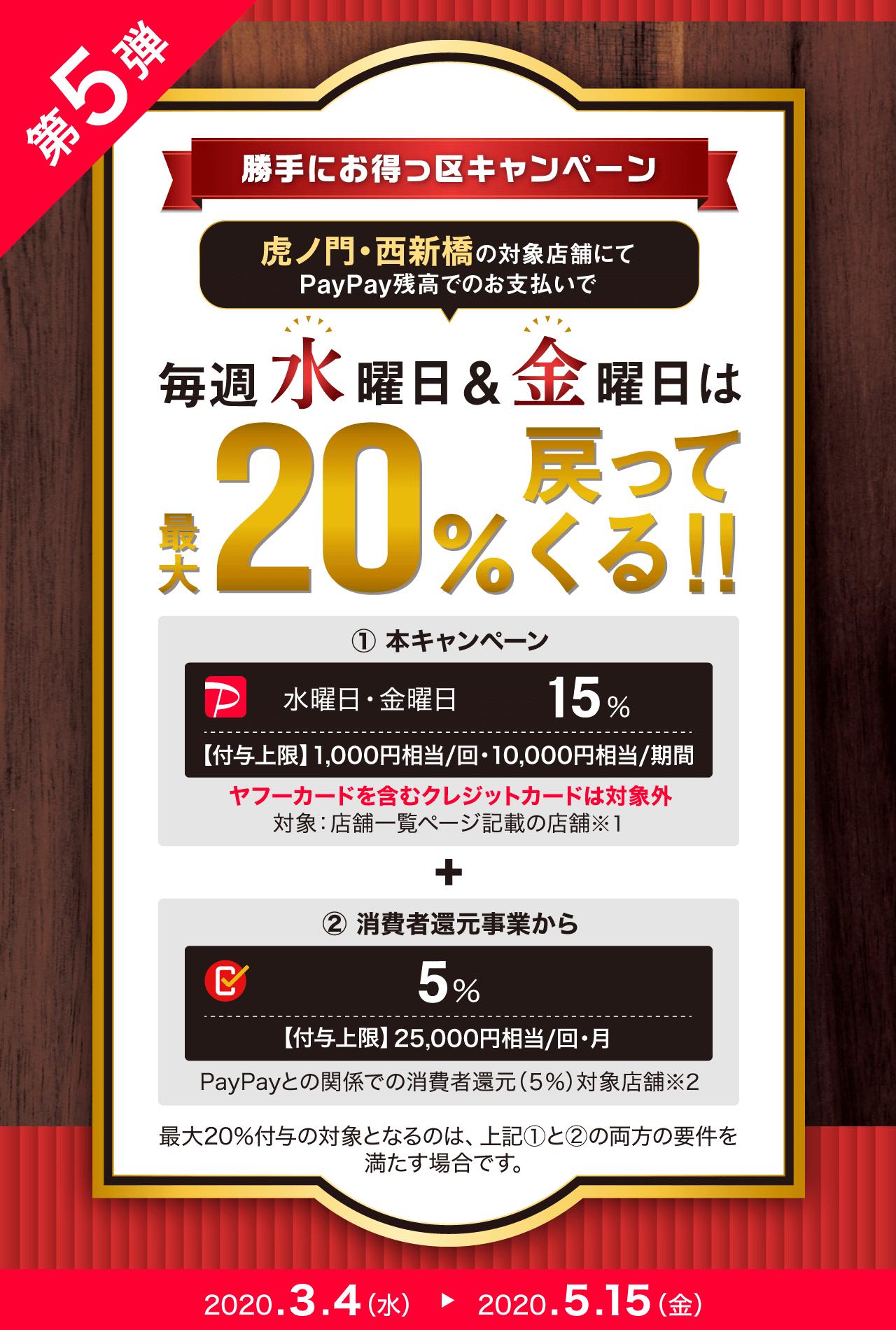 虎ノ門・西新橋の対象店舗にてPayPay残高でのお支払いで 毎週水曜日&金曜日は 最大20%戻ってくる!