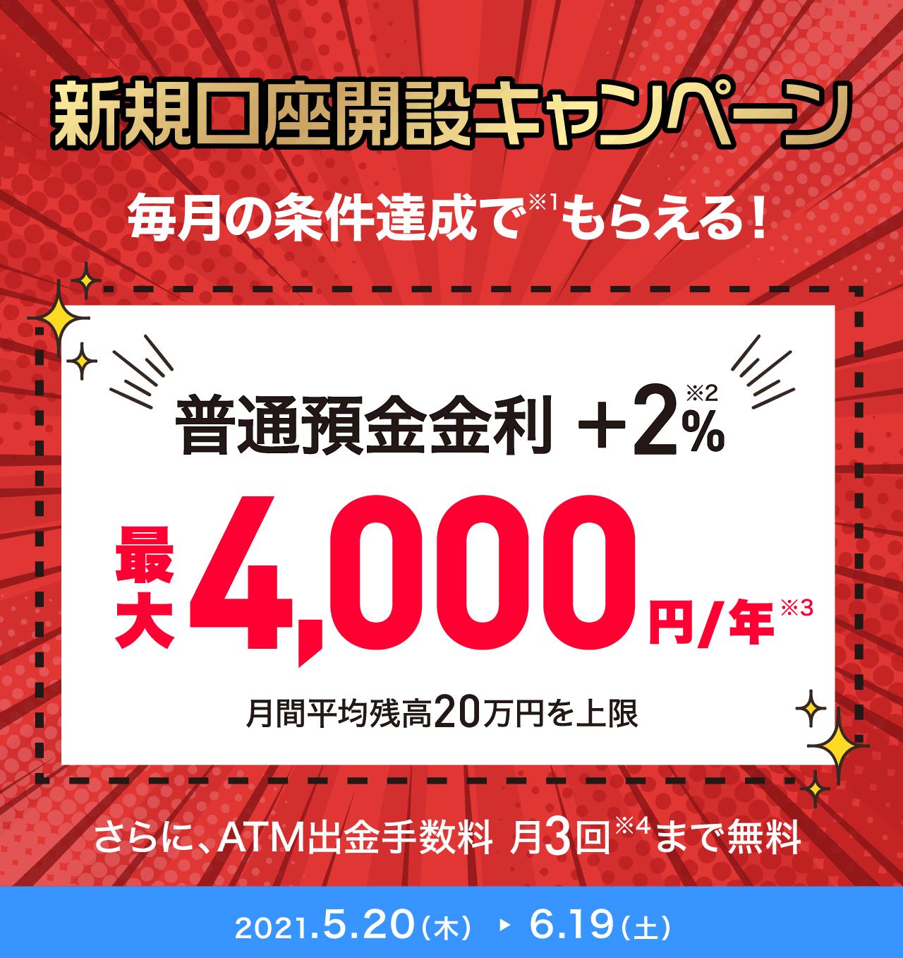 先着30万申込 特別金利キャンペーン 新規口座開設、各月条件達成で特別金利+2% ATM出金手数料月3回無料