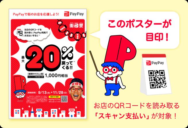 このポスターが目印!お店のQRコードを読み取る「スキャン支払い」が対象!