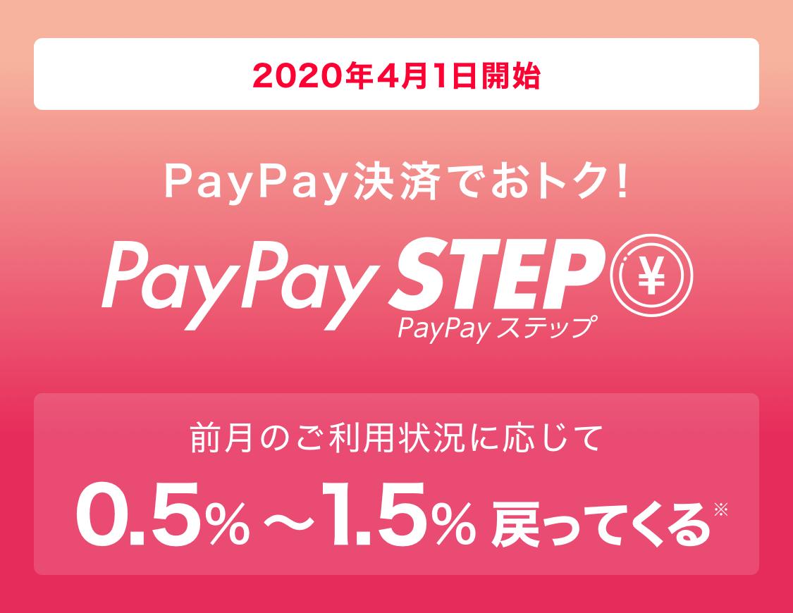 2020年4月1日開始 PayPay決済でおトク! PayPay STEP