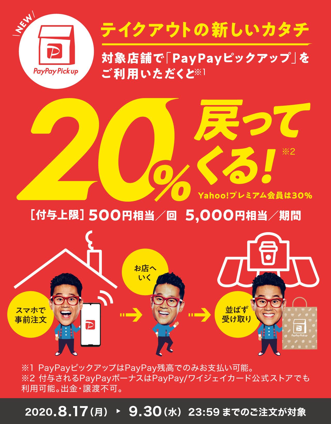対象店舗で「PayPayピックアップ」をご利用いただくと20%戻ってくる!