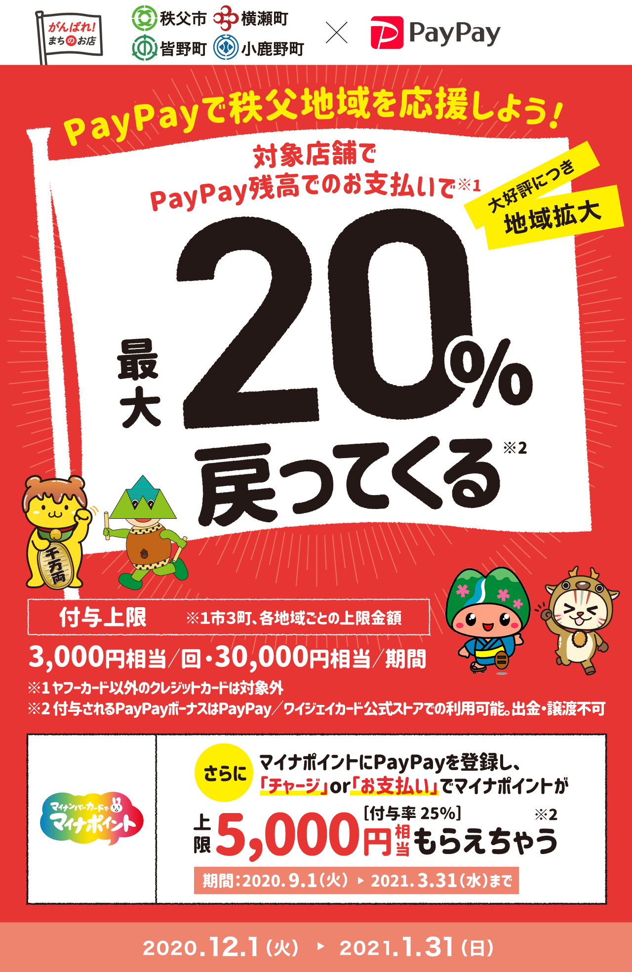 PayPayで秩父地域を応援しよう! 大好評につき地域拡大 対象店舗でPayPay残高でのお支払いで 最大20%戻ってくる