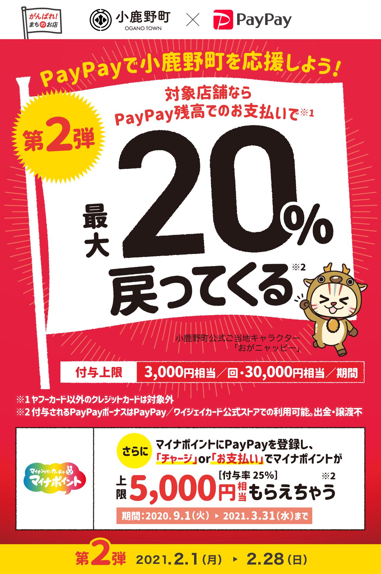 PayPayで小鹿野町を応援しよう! 第2弾 対象店舗ならPayPay残高でのお支払いで 最大20%戻ってくる