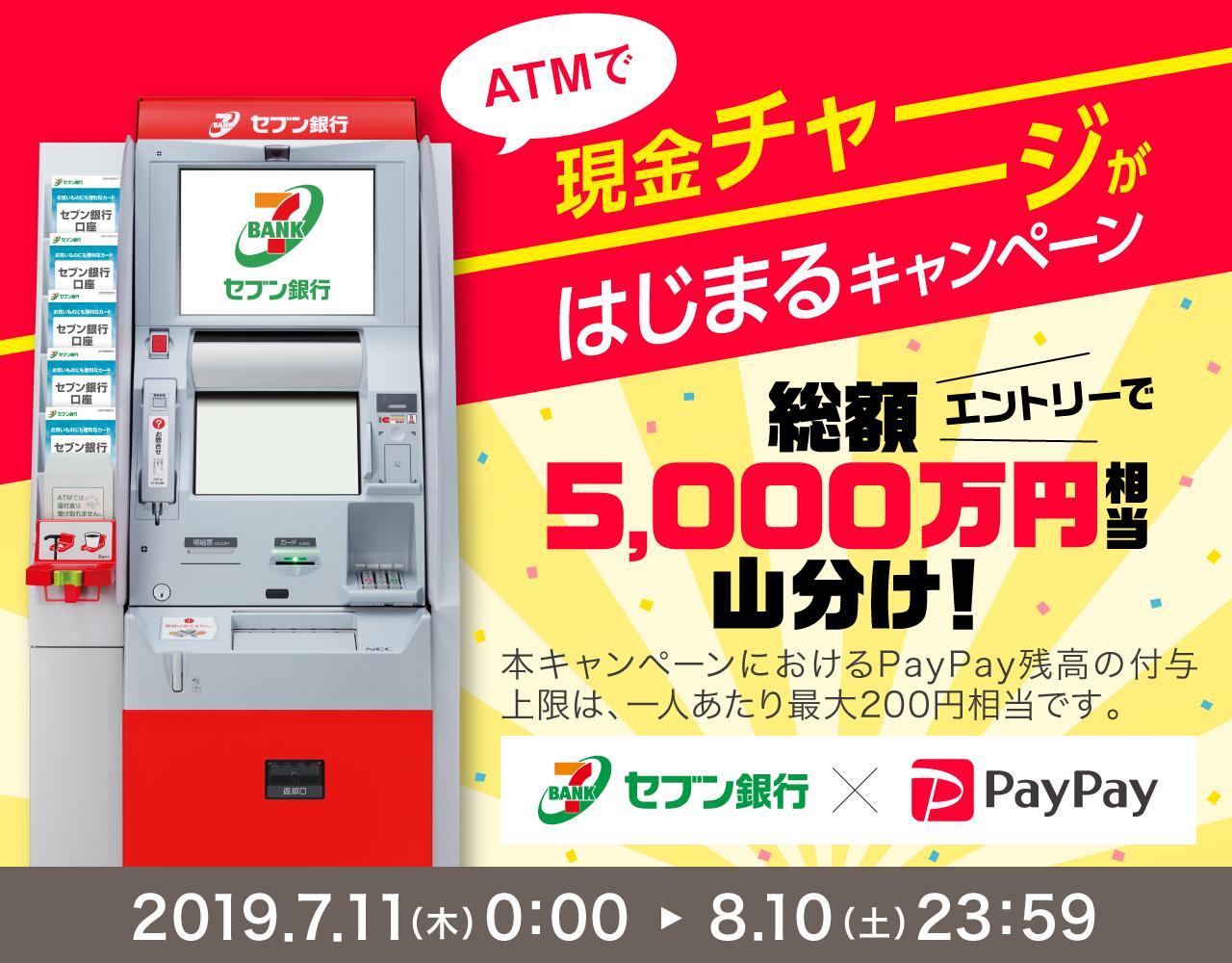 ATMで現金チャージが始まるキャンペーン エントリーで総額5,000万円相当山分け!