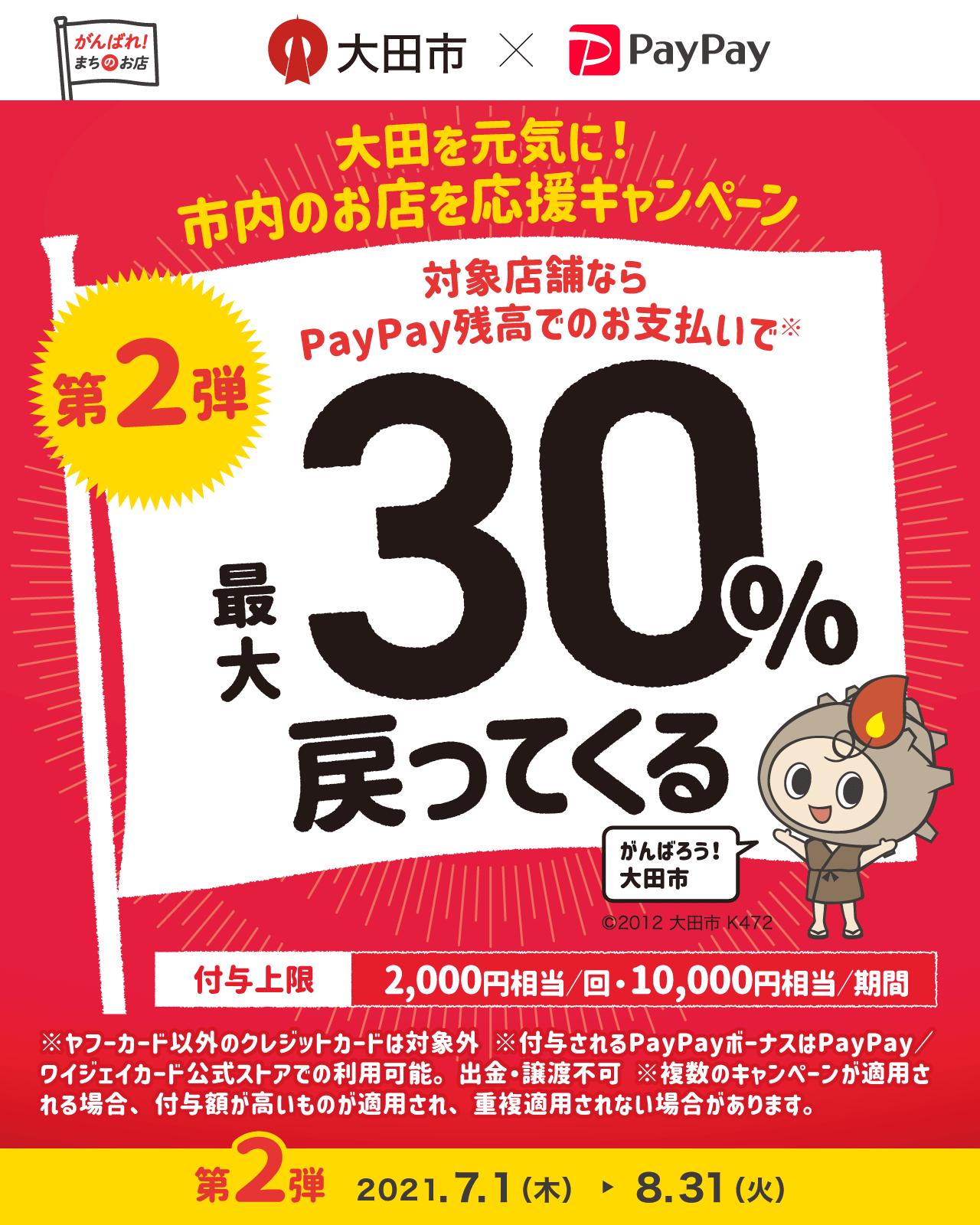太田市を元気に!市内のお店を応援キャンペーン 第2弾対象店舗ならPayPay残高でのお支払いで最大30%戻ってくる