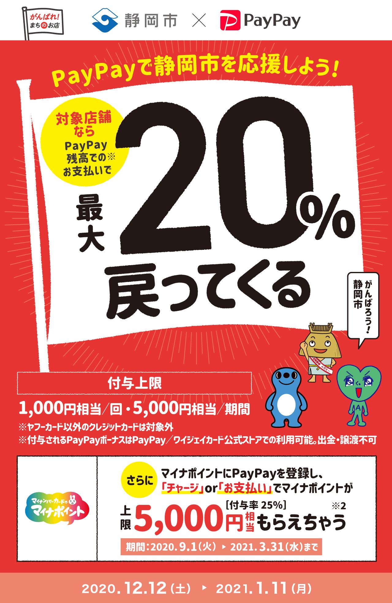 PayPayで静岡市を応援しよう! 対象店舗ならPayPay残高でのお支払いで 最大20%戻ってくる