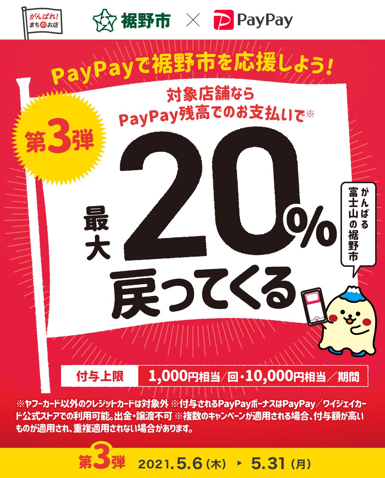 PayPayで裾野市を応援しよう! 第3弾 対象店舗ならPayPay残高でのお支払いで最大20%戻ってくる