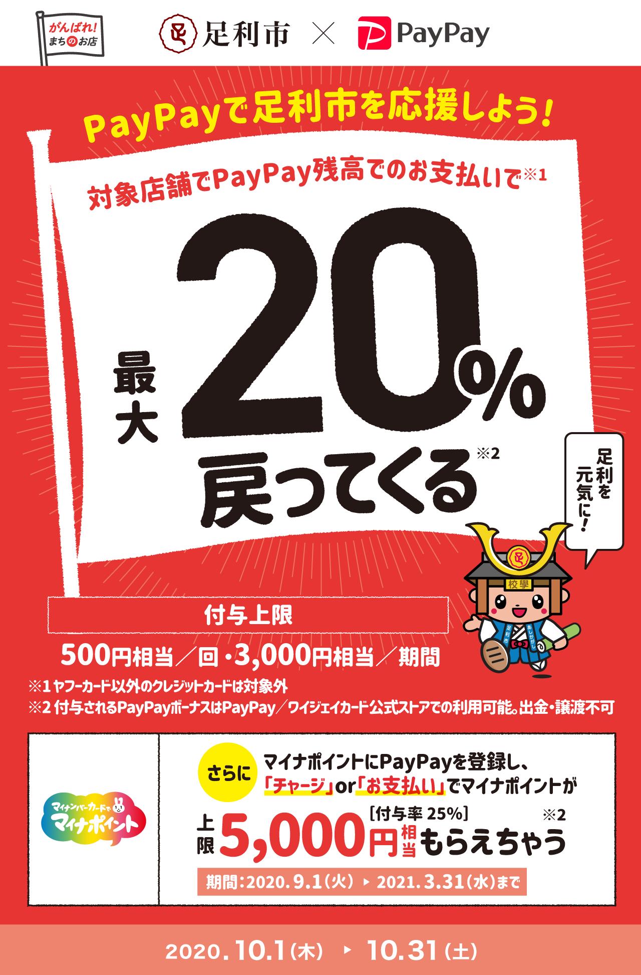 PayPayで足利市を応援しよう! 対象店舗でPayPay残高でのお支払いで最大20%戻ってくる