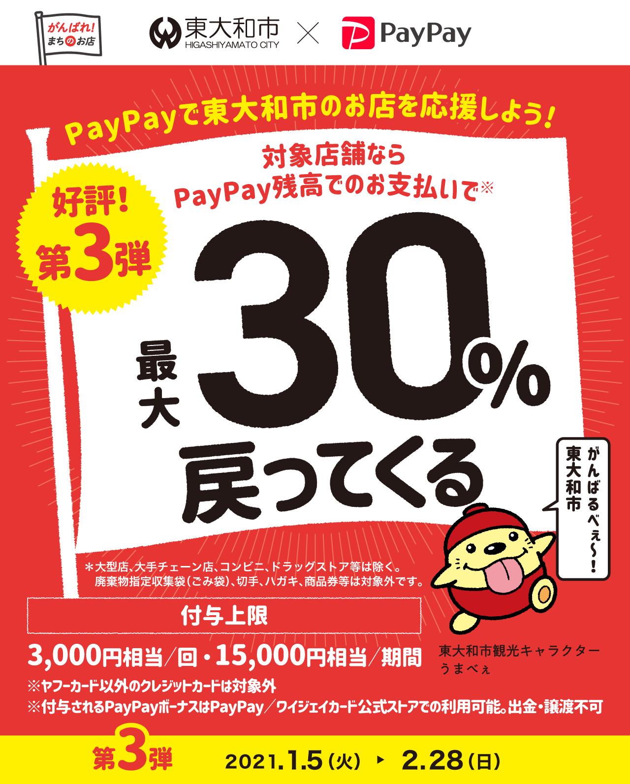 PayPayで東大和市を応援しよう! 好評!第3弾 対象店舗ならPayPay残高でのお支払いで 最大30%戻ってくる