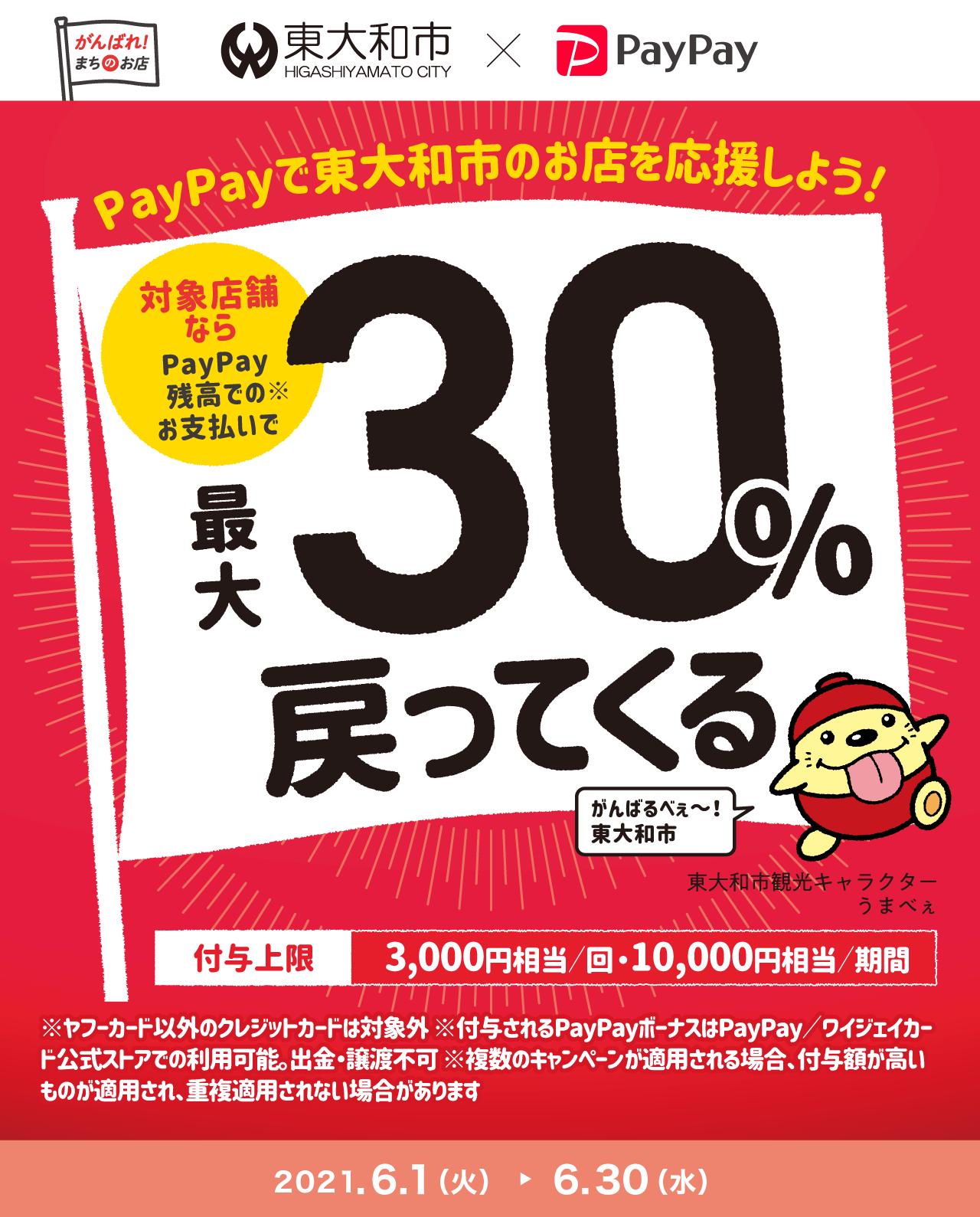 PayPayで東大和市のお店を応援しよう! 対象店舗ならPayPay残高でのお支払いで最大30%戻ってくる