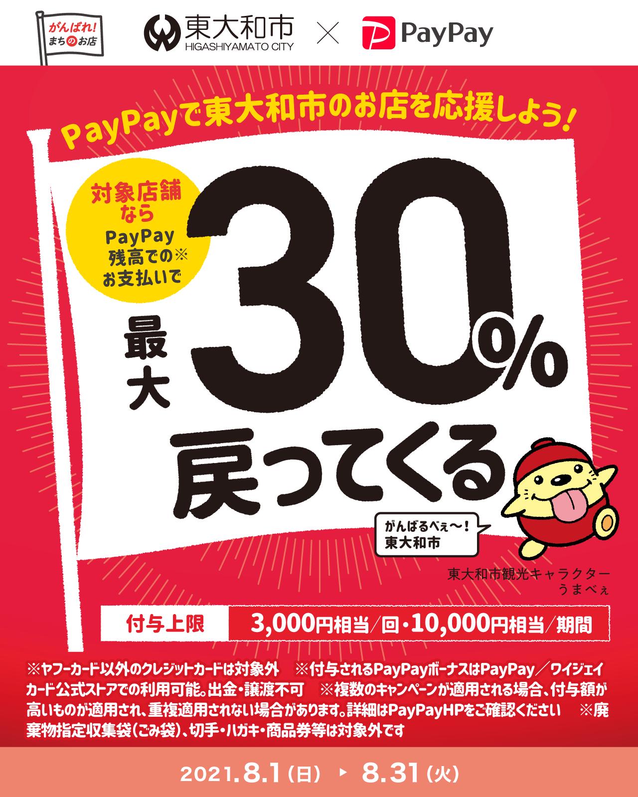 PayPayで東大和市を応援しよう! 対象店舗ならPayPay残高でのお支払いで最大30%戻ってくる