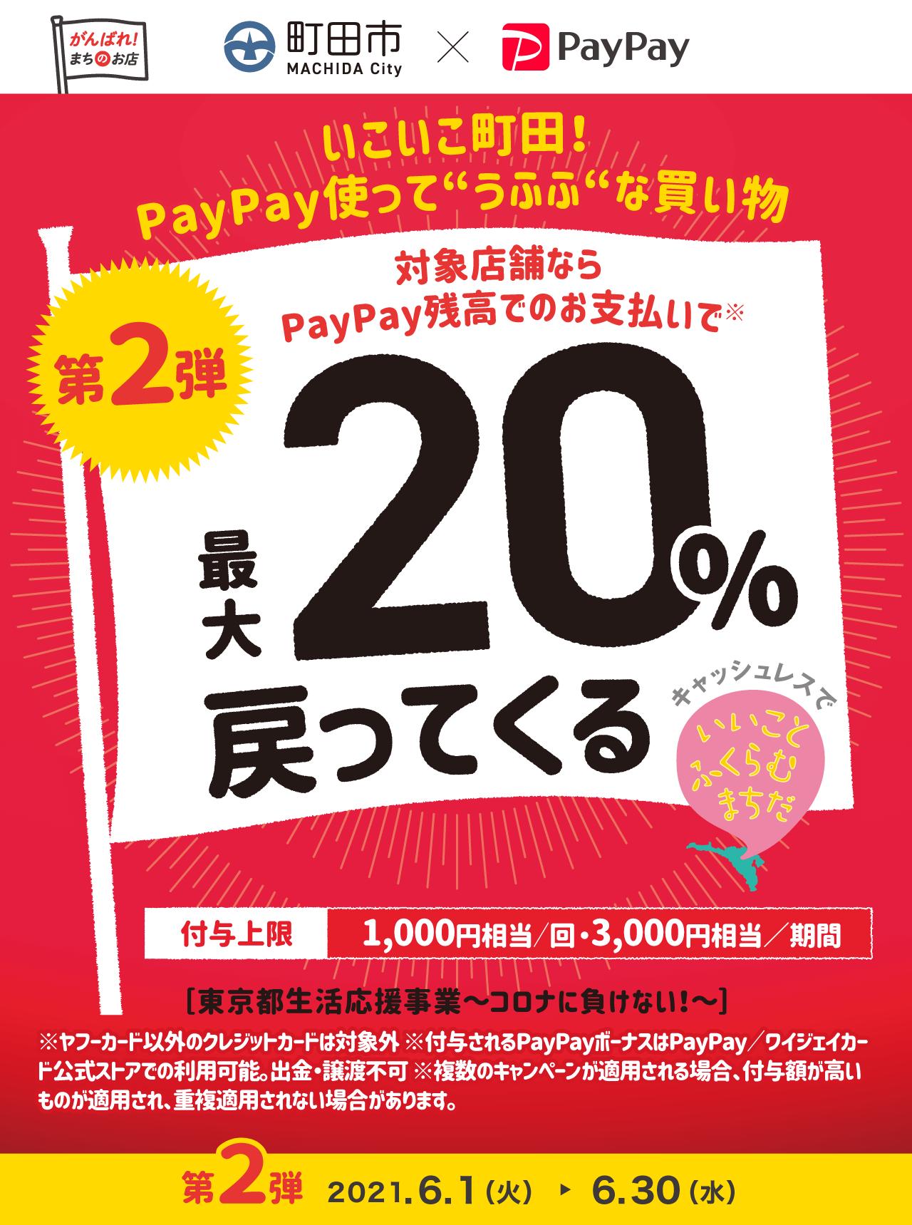 """いこいこ町田!PayPay使って""""うふふ""""な買い物 第2弾 対象店舗ならPayPay残高でのお支払いで最大20%戻ってくる"""