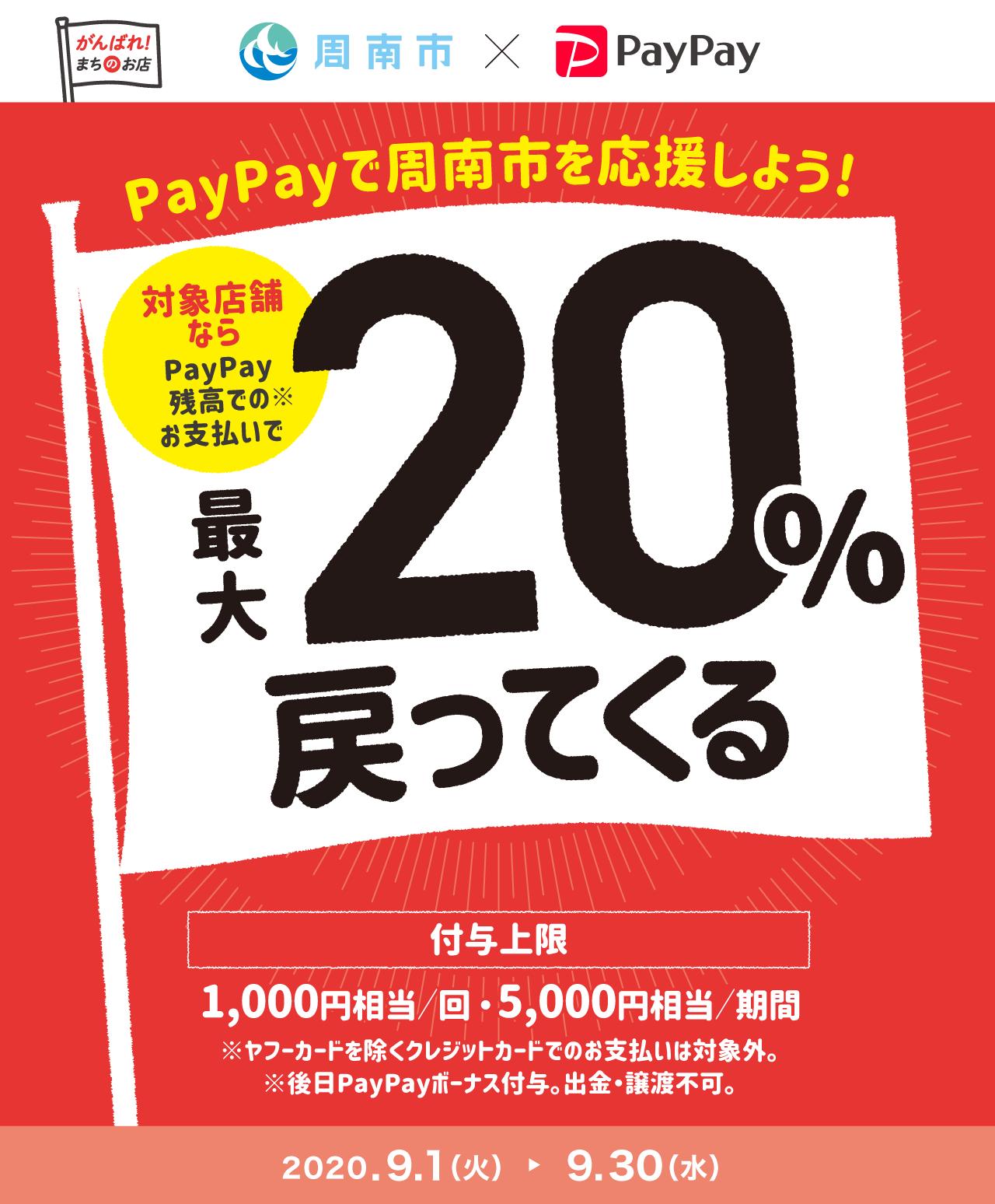 PayPayで周南市を応援しよう! 対象店舗ならPayPay残高でのお支払いで最大20%戻ってくる
