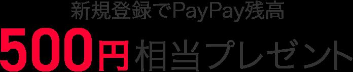新規登録でPayPay残高500円相当プレゼント
