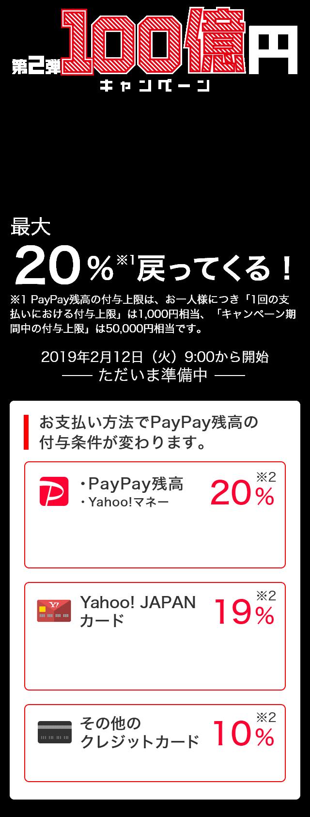 第2弾100億円キャンペーン 2019年2月12日(火)9:00から開始 ただいま準備中 最大20%※1戻ってくる! ※1 PayPay残高の付与上限は、お一人様につき「1回の支払いにおける付与上限」は1,000円相当、「キャンペーン期間中の付与上限」は50,000円相当です。お支払い方法でPayPay残高の付与条件が変わります。・PayPay残高・Yahoo!マネー 20% Yahoo! JAPANカード 19% その他のクレジットカード 10%