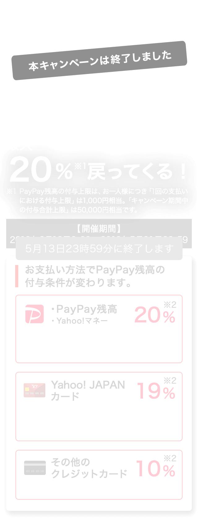 第2弾100億円キャンペーン 【開催期間】2019年2月12日9:00~2019年5月31日23:59 最大20%※1戻ってくる! ※1 PayPay残高の付与上限は、お一人様につき「1回の支払いにおける付与上限」は1,000円相当、「キャンペーン期間中の付与上限」は50,000円相当です。お支払い方法でPayPay残高の付与条件が変わります。PayPay残高 20% Yahoo! JAPANカード 19% その他のクレジットカード 10%